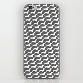 White Wirehaired Dachshund Silhouette iPhone Skin