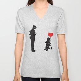 Banksy Policeman & girl on bike, Streetart Street Art, Grafitti, Artwork, Design For Men, Women, Kid Unisex V-Neck