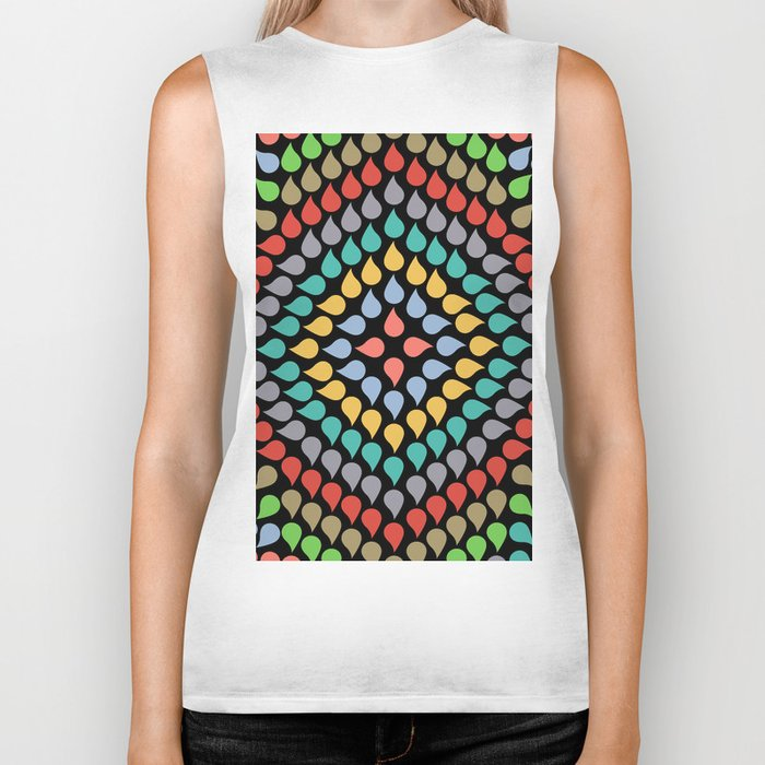 Seamless Colorful Raindrops VI Biker Tank
