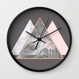 BLUSH GRAY COPPER MARBLE GEOMETRIC PATTERN Wall Clock