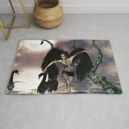 Wonderful dark swan fairy Rug