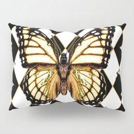 WHITE MONARCH BUTTERFLY & BLACK DIAMONDS Pillow Sham