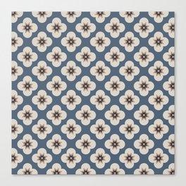 Starburst Floral, Slate Blue background Canvas Print