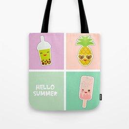 Hello Summer bright tropical card, pineapple, smoothie cup, ice cream, bubble tea. Kawaii cute face. Tote Bag