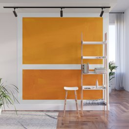 Antique Yellow  & Yellow Ochre Mid Century Modern Abstract Minimalist Rothko Color Field Squares Wall Mural
