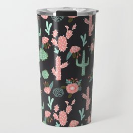 Cactus florals dark charcoal colorful trendy desert southwest house plants cacti succulents pattern Travel Mug