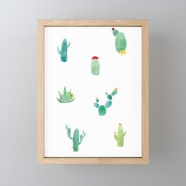 Summer pattern with cacti and yellow cats ! Framed Mini Art Print