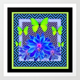 Lime Green Butterflies Blue Tropical Flower Graphic Art Art Print