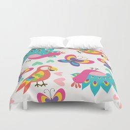 Exotic Birds & Butterflies Pattern Duvet Cover