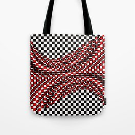 black white red Tote Bag