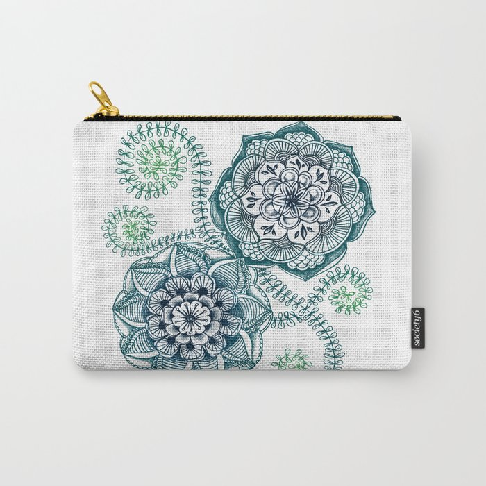 Teal Floral Doodle Carry-All Pouch