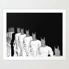 The Bat Black and White Fading Away Art Print