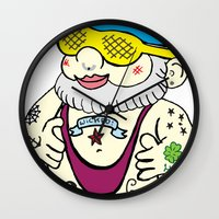 gnome Wall Clocks featuring Gnome by craftyfoxstudios