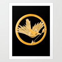 mockingjay Art Prints featuring Mockingjay by AriesNamarie