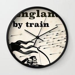 England 1066 vintage travel train poster Wall Clock