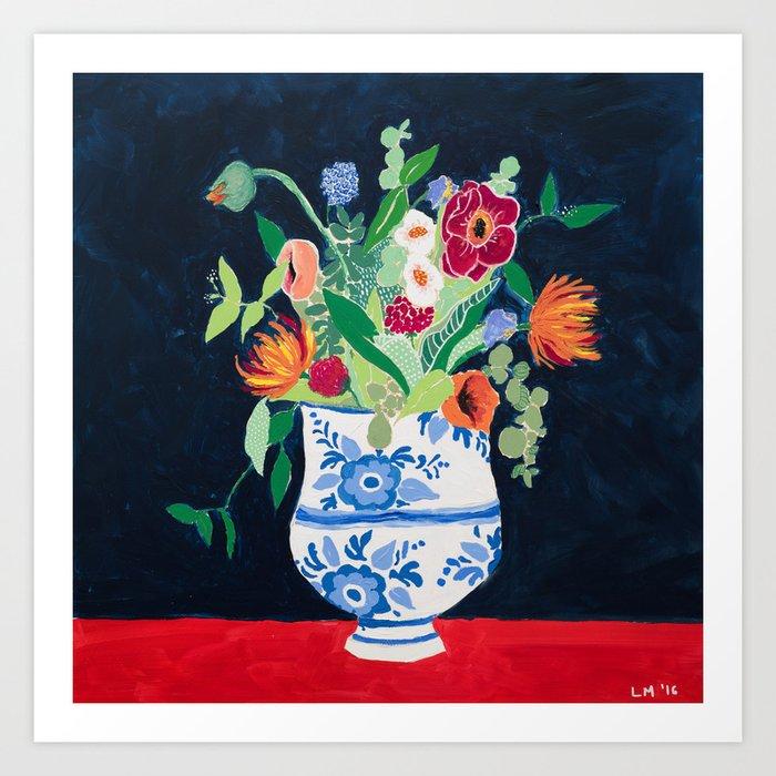 Bouquet of Flowers in Blue and White Urn on Navy Kunstdrucke