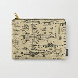 F-18 Blueprints // Tan Carry-All Pouch