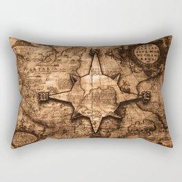 Antique World Map & Compass Rose Rectangular Pillow