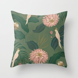 Cockatoos in the Jungle Throw Pillow