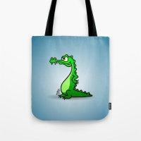 crocodile Tote Bags featuring Crocodile by Cardvibes.com - Tekenaartje.nl