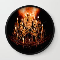 chandelier Wall Clocks featuring Chandelier by Jessica Lindstrom