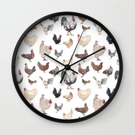 Chicken Happy (white) Wall Clock