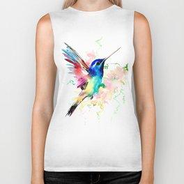 Hummingbird , Blue Turquoise Pink Biker Tank