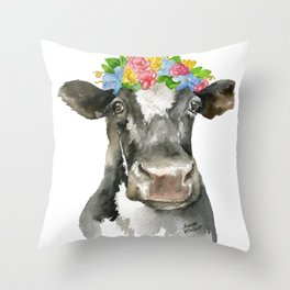 Black and White Cow with Floral Crown Watercolor Painting Throw Pillow