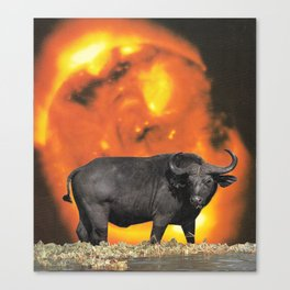 buffalo sun | 1970s SciFi Paper Collage Analog | Bison | Solar Outer Space Psychedelic Funny Canvas Print