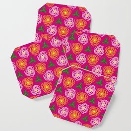 Bright pink floral Coaster