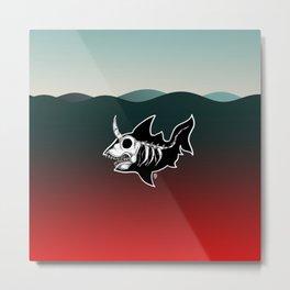 Dark Unicorn Shark Skeleton Metal Print