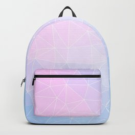 Flower on Pastel Pink and Blue Geometric Pattern Backpack