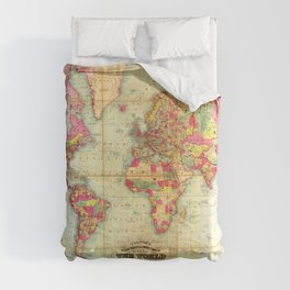 Antique World Map Vintage Cartography  Comforters