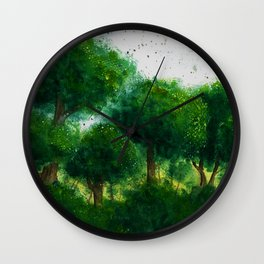 watercolor forest Wall Clock