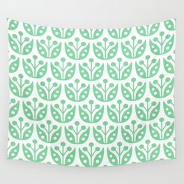 Mid Century Modern Flower Pattern 731 Green Wall Tapestry