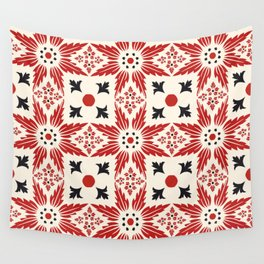 Red and Black Floral Elements Pattern Wall Tapestry