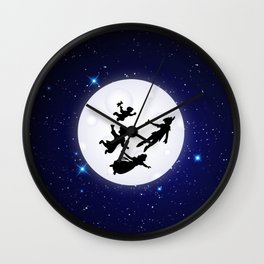 Flying to Neverland Wall Clock