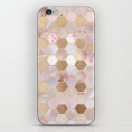Hexagonal Honeycomb Marble Rose Gold iPhone Skin