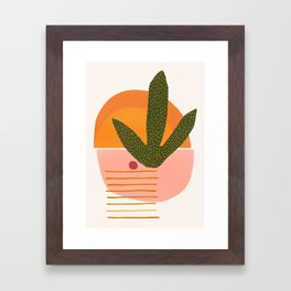 Desert Sunset With Cactus and Cherry Framed Art Print