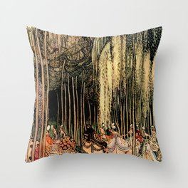 "Kay Nielsen Fairytale Illustration ""12 Dancing Princesses"" Throw Pillow"