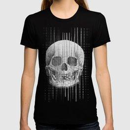 Monochrome glitch skull T-shirt