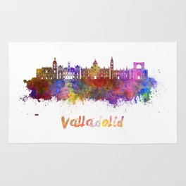 Valladolid skyline in watercolor Rug