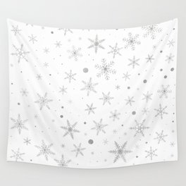 Twinkle Snowflake -Silver Grey & White- Wall Tapestry
