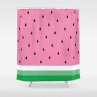 watermelon Shower Curtains featuring Watermelon by Anna Lindner