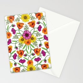 Wildflower Garden - Cosmos, California Poppies & Yellow Daisies for Spring Stationery Cards