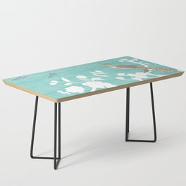 Chinoiserie Panels 3-4 White Scene on Teal Raw Silk - Casart Scenoiserie Collection Coffee Table
