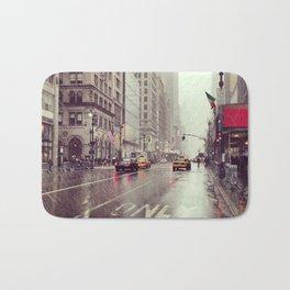 nyc street rain Bath Mat