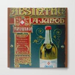 Vintage Absinthe Liquor Aperitif A. Junod Pontarier Advertising Poster Metal Print