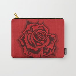 Red Rose Round Carry-All Pouch