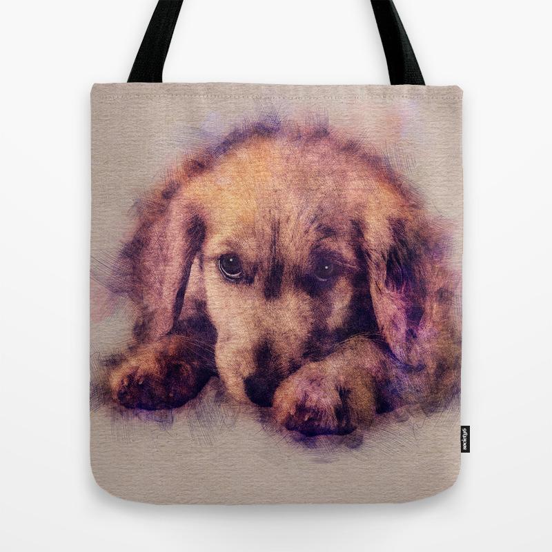 Golden Retriever Puppy Sketch Digital Art Tote Bag By K9printart Society6